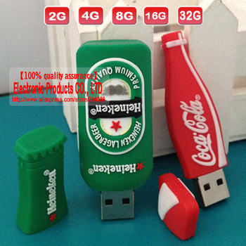 1GB 2GB 4GB 8GB 16GB 32GB beer bottle shaped flash pen drive USB drive free shipping
