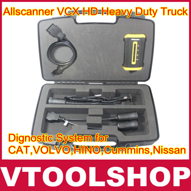 [VTOOL] Newly Arrival Allscanner VCX HD Heavy Duty Truck Diagnostic System for CAT, VOLVO, HINO, Cummins, Nissan Free Shipping(China (Mainland))