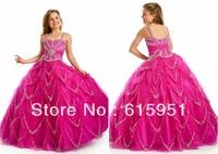 Most popular flower shape sequin beaded spaghetti strap tulle flower girl dress little girls pageant dress JY008