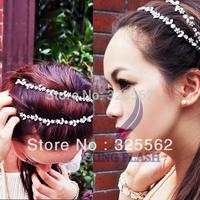 Free Shipping Women Fashion Silver Crystal Flower Elastic Hair Band Headband 6269 3F