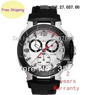 New T048 Watch T-Race Men Chronograph White DIal Wristwatch T048.417.27.037.00 + Original Box