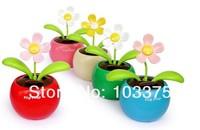 2pcs/Lot Solar Powered Flip Flap Sunflower Plant Desktop Toy Free Shipping Random Color