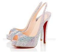 lowest price!! silver crystal summer peep toe slingback women high heel sandals