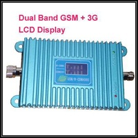 LCD display GSM 900Mhz Booster +3G WCDMA 2100Mhz Repeater 27dbm dual band mobile phone booster,2000 square meters to work