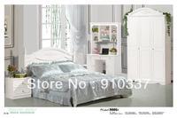 MDF White Princess Girl Bedroom Furniture with Computer Desk