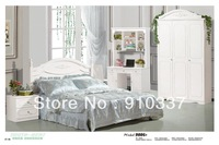 MDF White Princess Girl Bedroom Furniture with Computer Desk