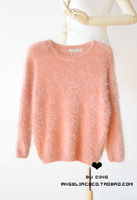 Comfortable soft candy color plush velvet long-sleeve pullover solid color mohair sweater
