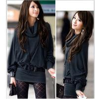 Women's cotton Long Sleeve T-shirt Top Mini Dress Blouse Ruff Neckline Sexy 2 Colors free shipping