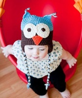20 Designs can choose Best price - Handmade Knitted Crochet cotton Baby Hat owl hat with ear flap 10pcs/lot Free shipping