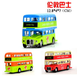 bus car model paintless alloy WARRIOR car double layer bus