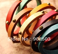 Wood bangle,wood bracelet with rivets,Many colors mixed,cute vintage style
