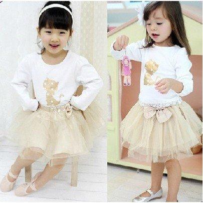 Girl golden cat long-sleeved T-shirt + bow veil Children's suits(China (Mainland))