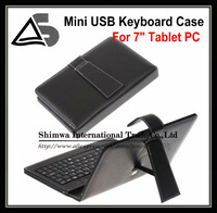 "Free shipping Leather Case + Mini USB Keyboard +Stylus For 7"" tablet PC GPS ebook black color"