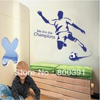 5pcs Free shipping Removable wall stickers 'We are champions' home wall decals for kids room JM8261 ,football sports wall decor