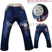 Free shipping 5pcs/lot children's cartoon tomas train denim jeans pants girls boys fashion casual jeans trousers for kids