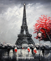 Famous thick knife oil painting replica wall arts for deco-Eiffel tower in paris,Large canvas abstract arts for hotel,bistros