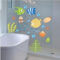 Cartoon fish wall stickers child real decoration stickers