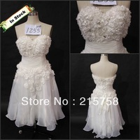 IN STOCK Sweetheart applique bead organza off white short prom dress Best Price