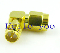 Free shipping (10pcs/lot) SMA connector RP SMA Jack(male pin) to RP SMA Plug (female pin) adapter goldplated Right angle