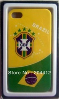 5 Stars Brazil Brasil National Soccer Team Mobile Cell Phone Hard Case Cover for Apple iPhone 4 4s W/ Packing #2