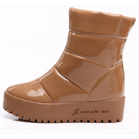 2012 autumn and winter platform waterproof japanned leather female cotton-padded shoes ankle boots snow boots