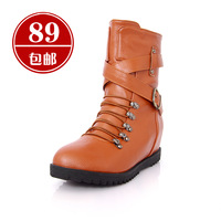 2012 spring and autumn martin boots fashion sexy elegant boots elevator buckle flat heel boots with a single women's shoes