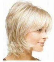 2013   fashion Short blonde curly human made hair wig/wigs Free shipping