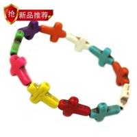 Fashion jewelry handmade knitted natural stone retractable cross bracelet b2-074 wholesale 10 pcs/lot