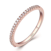 925 Sterling Silver Diamond Ring,18K Real Rose Gold Ring Valentine's Day Gift ,Bridal Wedding Jewelry,Gifts Packaging