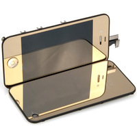 Gold Hot Plating LCD Display Digitizer Assembly+Mirror Back Housing For iPhone 4 4G BA017