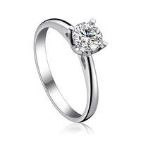 Luxury 100% genuine 925 sterling silver crystal platinum ring nice wedding jewelry XH535
