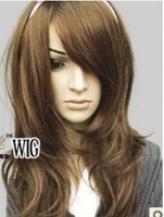 2013        New Sexy Long Curly natural brown Hair Wig/wigs Free shippingE