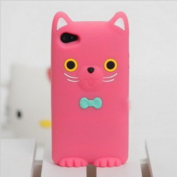 100pcs Smiling Cat With Butterfly Case For iphone 4 4S,  Soft Silicone Cover For iphone 4 4g, DHL or FedEx Freeship (PI0200073)