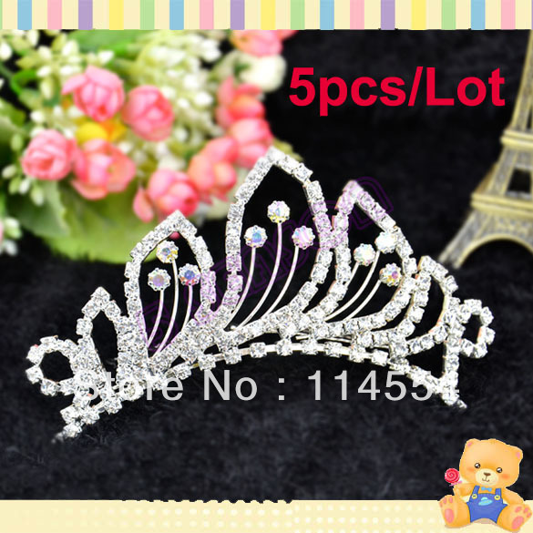 Free Shipping 5pcs/Lot New Fashion Crown Rhinestone Tiara Comb Bridal Party Wedding Accessory Prom Inserting Headdress 8754(China (Mainland))