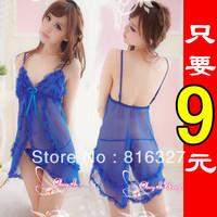 Free Shipping Adult  Plus Size Transparent Temptation Sleepwear Lovely Short Skirt Sexy Lingerie Dress