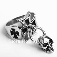 Fashion Tidal current punk male men's stainless steel skull cross  ring