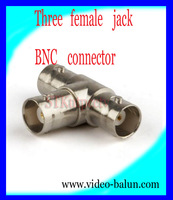 free shipping T type 3 ways female BNC connector