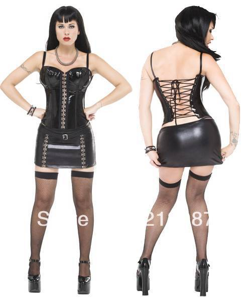 Free shipping! 3pcs women sexy pvc lacing lingerie with lacing back top mini dress and g string one size fit all(China (Mainland))