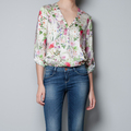 Free shipping 2013 new arrival women's chiffon shirt silk printed v-neck blouses ladies long sleeve shirts and tops for women