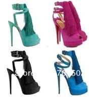 Free dropship red bottom 6 inch heels latest high heel shoes for girls sheepskin tassel sandals