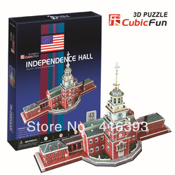 New Arrival:CubicFun three-dimensional 3D puzzle building model educational toys- United States independence hall C120h(China (Mainland))