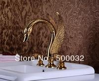 Gold PVD swan three hole 3pcs bathroom basin faucet