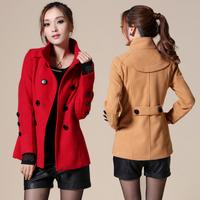 Red,green,black,khaki.2014 new fashion autumn women clothes slim plus size coat outerwear female Woolen jacket  winter jacket