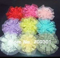 "1.5"" Ribbon Flowers With Crystal Rhinestone DIY Flowers Baby Flowers 120Pcs Free Shipping(China (Mainland))"