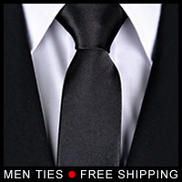Black Solid Shiny Silk Men's Ties Necktie Neck tie For Men Korean Narrow Style Free shipping