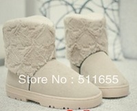 Promotion + free shipping Love thick warm suede short cylinder snow boots female