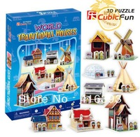 CubicFun three-dimensional 3D puzzle building model educational toys/children toys - C100H mini world houses