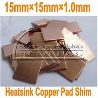 100pcs/lot 15MM*15MM*1.0mm 1.0mm Laptop GPU CPU Heatsink cooling fin Copper Pad Shim for DV2000 for V3000 for DV9000 for M1210