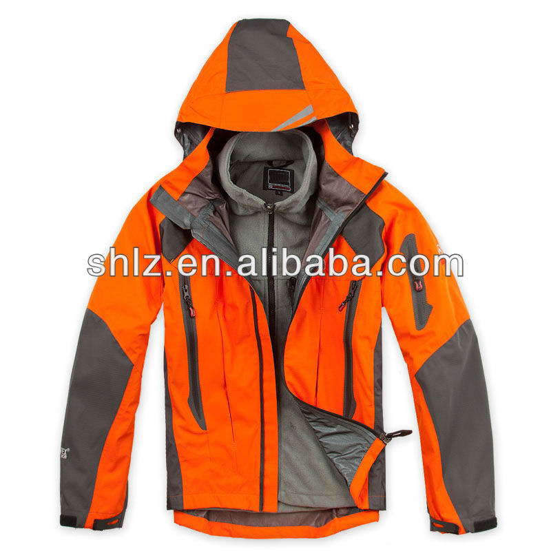 Mens Name Brand Waterproof Jacket Outdoor Clothes Orange Winter Ski Camping Wear Fleece Hooded T36(China (Mainland))