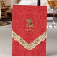 Luxurious Wedding Invitation With Golden Couple Colourful 100pcs